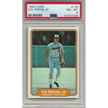 Cal Ripken Jr. Baltimore Orioles 1982 Fleer # 176 Rookie Card PSA 8