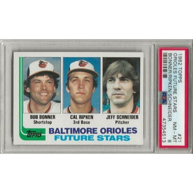 Cal Ripken Jr. Baltimore Orioles 1982 Topps # 21 Rookie Card PSA 8