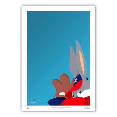 Atlanta Braves Baseball Bugs Minimalist Looney Tunes Collection 14 x 20 Fine Art Print by artist S. Preston - Ltd Ed of 100