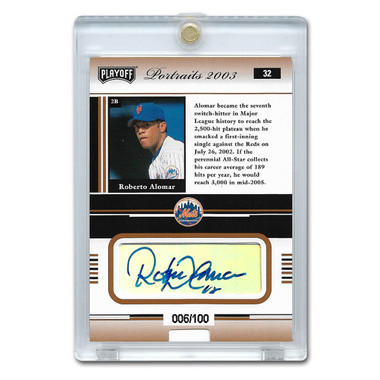 Roberto Alomar Autographed Card 2003 Playoff Portraits #32 Ltd Ed of 100