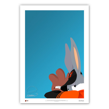 Batlimore Orioles Baseball Bugs Minimalist Looney Tunes Collection 14 x 20 Fine Art Print by artist S. Preston - Ltd Ed of 100