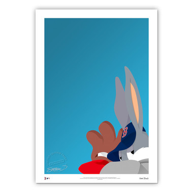 Boston Red Sox Baseball Bugs Minimalist Looney Tunes Collection 14 x 20 Fine Art Print by artist S. Preston - Ltd Ed of 100