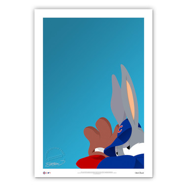 Chicago Cubs Baseball Bugs Minimalist Looney Tunes Collection 14 x 20 Fine Art Print by artist S. Preston - Ltd Ed of 100