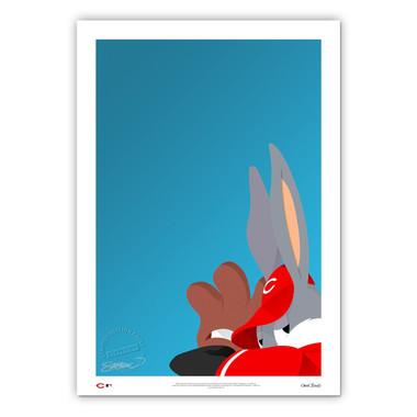 Cincinnati Reds Baseball Bugs Minimalist Looney Tunes Collection 14 x 20 Fine Art Print by artist S. Preston - Ltd Ed of 100