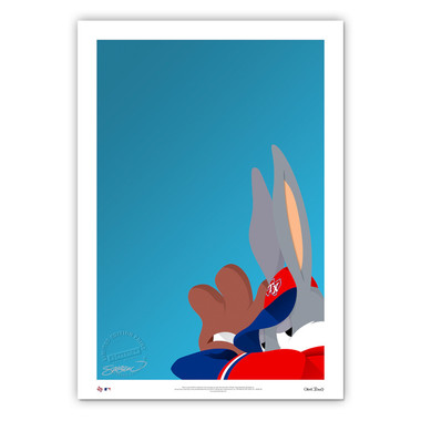 Texas Rangers Baseball Bugs Minimalist Looney Tunes Collection 14 x 20 Fine Art Print by artist S. Preston - Ltd Ed of 100
