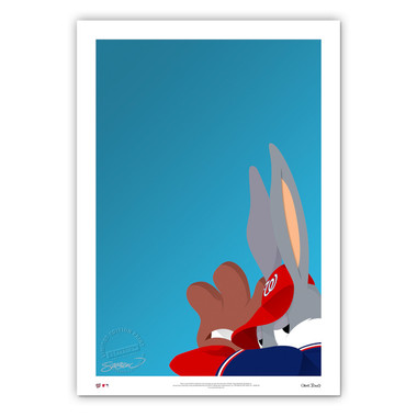 Washington Nationals Baseball Bugs Minimalist Looney Tunes Collection 14 x 20 Fine Art Print by artist S. Preston - Ltd Ed of 100