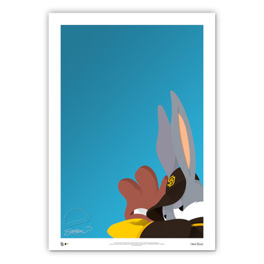San Diego Padres Baseball Bugs Minimalist Looney Tunes Collection 14 x 20 Fine Art Print by artist S. Preston - Ltd Ed of 100
