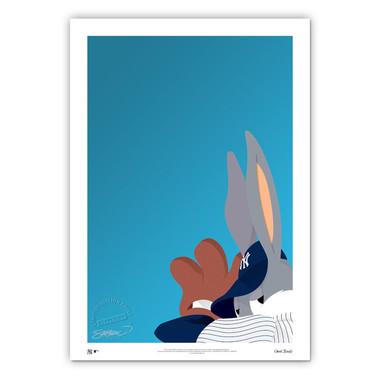 New York Yankees Baseball Bugs Minimalist Looney Tunes Collection 14 x 20 Fine Art Print by artist S. Preston - Ltd Ed of 100