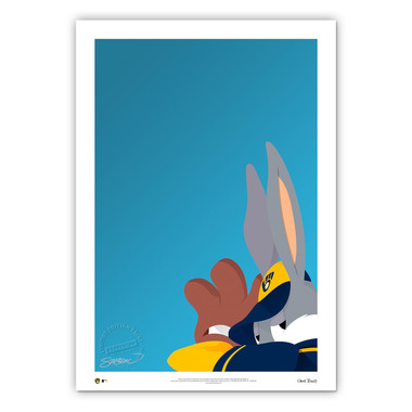 Milwaukee Brewers Baseball Bugs Minimalist Looney Tunes Collection 14 x 20 Fine Art Print by artist S. Preston - Ltd Ed of 100