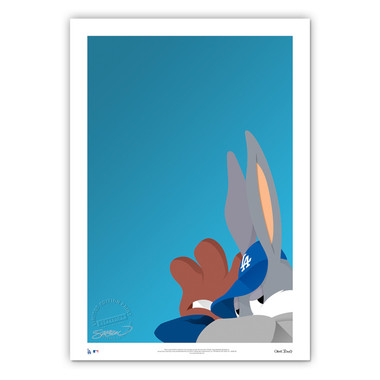 Los Angeles Dodgers Baseball Bugs Minimalist Looney Tunes Collection 14 x 20 Fine Art Print by artist S. Preston - Ltd Ed of 100