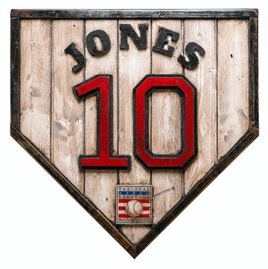 Chipper Jones Hall of Fame Vintage Distressed Wood 17 Inch Legacy Home Plate Ltd Ed of 250