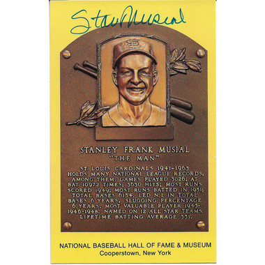 Stan Musial Autographed Hall of Fame Plaque Postcard (JSA )
