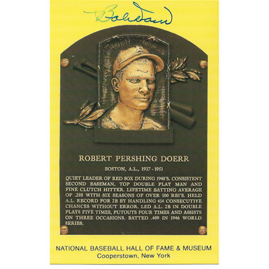 Bobby Doerr Autographed Hall of Fame Plaque Postcard (JSA-42)