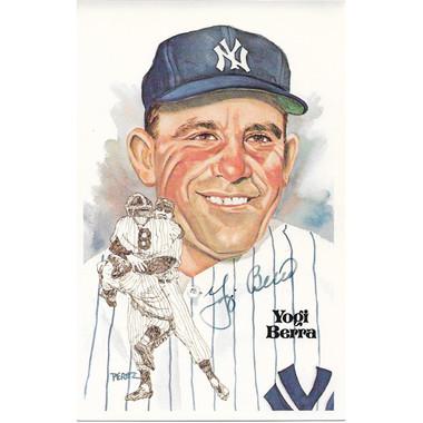Yogi Berra Autographed Perez-Steele HOF Series Postcard #127 (JSA)