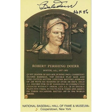 Bobby Doerr Autographed Hall of Fame Plaque Postcard (PSA-77)