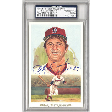 Carl Yastrzemski Autographed Perez-Steele Celebration Series Postcard #44 (PSA)