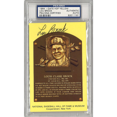 Lou Brock Autographed Hall of Fame Plaque Postcard (PSA-61)