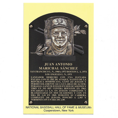 Juan Marichal Baseball Hall of Fame Plaque Postcard (Spanish)