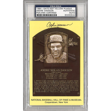 Andre Dawson Autographed Hall of Fame Plaque Postcard (PSA)