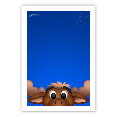 Seattle Mariners Moose Minimalist MLB Mascots Collection 14 x 20 Fine Art Print by artist S. Preston - Ltd Ed of 350