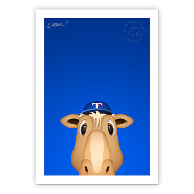 Texas Rangers Captain Minimalist MLB Mascots Collection 14 x 20 Fine Art Print by artist S. Preston - Ltd Ed of 350