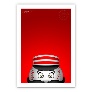 Cincinnati Reds Mr Redlegs Minimalist MLB Mascots Collection 14 x 20 Fine Art Print by artist S. Preston - Ltd Ed of 350