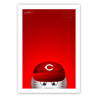 Cincinnati Reds Mr Red Minimalist MLB Mascots Collection 14 x 20 Fine Art Print by artist S. Preston - Ltd Ed of 350