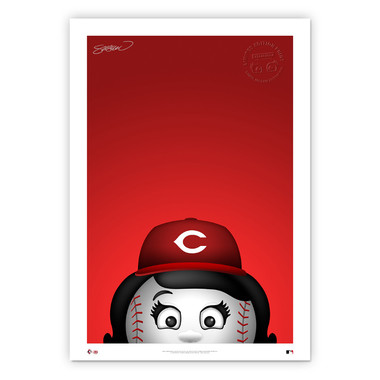 Cincinnati Reds Rosie Red Minimalist MLB Mascots Collection 14 x 20 Fine Art Print by artist S. Preston - Ltd Ed of 350