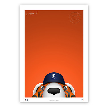 Detroit Tigers Paws Minimalist MLB Mascots Collection 14 x 20 Fine Art Print by artist S. Preston - Ltd Ed of 350