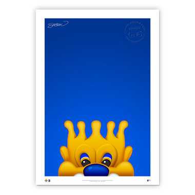 Kansas City Royals Sluggerrr Minimalist MLB Mascots Collection 14 x 20 Fine Art Print by artist S. Preston - Ltd Ed of 350
