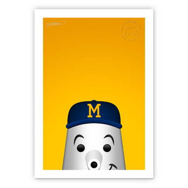 Milwaukee Brewers Hank the Dog Minimalist MLB Mascots Collection 14 x 20 Fine Art Print by artist S. Preston - Ltd Ed of 350