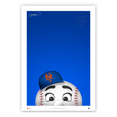 New York Mets Mr Met Minimalist MLB Mascots Collection 14 x 20 Fine Art Print by artist S. Preston - Ltd Ed of 350
