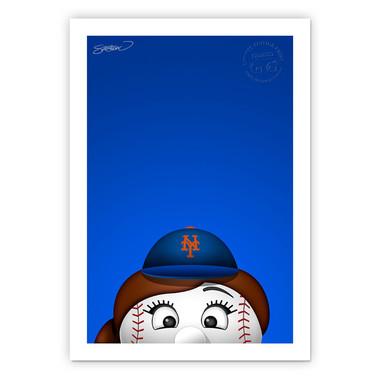 New York Mets Mrs Met Minimalist MLB Mascots Collection 14 x 20 Fine Art Print by artist S. Preston - Ltd Ed of 350