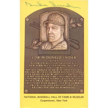 Duke Snider Autographed Hall of Fame Plaque Postcard (JSA)