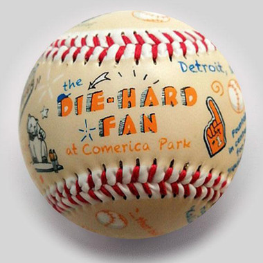 Die-Hard Fan at Comerica Park Unforgettaballs Limited Commemorative Baseball with Lucite Gift Box