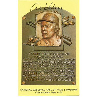 Al Kaline Autographed Hall of Fame Plaque Postcard (JSA)