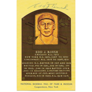Edd Roush Autographed Hall of Fame Plaque Postcard (JSA-54)