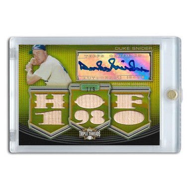 Duke Snider Autographed Card 2010 Topps Triple Threads Die Cut Relics Gold Ltd Ed of 9