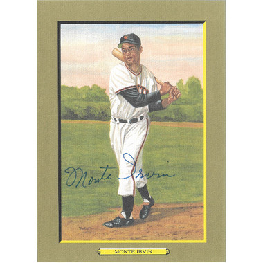 Monte Irvin Autographed Perez-Steele Great Moments Jumbo Postcard # 27 (PSA)