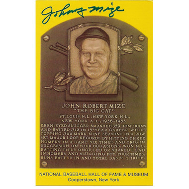 Johnny Mize Autographed Hall of Fame Plaque Postcard (JSA-34)