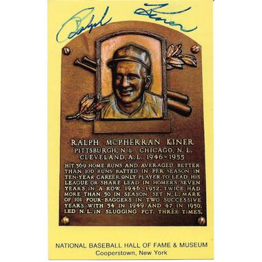 Ralph Kiner Autographed Hall of Fame Plaque Postcard (JSA-68)