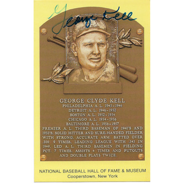 George Kell Autographed Hall of Fame Plaque Postcard (JSA-51)