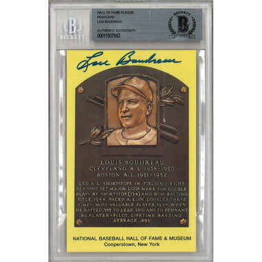Lou Boudreau Autographed Hall of Fame Plaque Postcard (Beckett)
