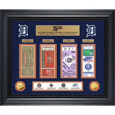 Highland Mint Detroit Tigers World Series Deluxe Framed Gold Coin & Replica Ticket Collection