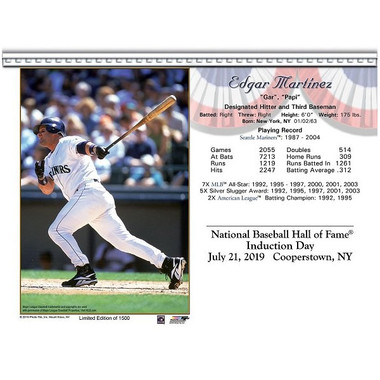 Edgar Martinez Seattle Mariners 2019 Hall of Fame Induction 8x10 Photocard