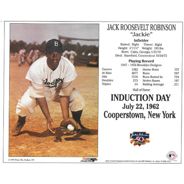 Jackie Robinson Brooklyn Dodgers 50th Anniversary 8x10 Photocard (Fielding)