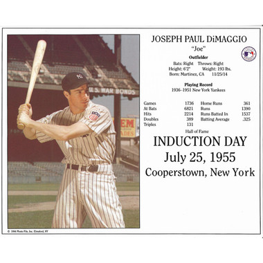 Joe Dimaggio New York Yankees 1955 Hall of Fame Induction 8x10 Photocard