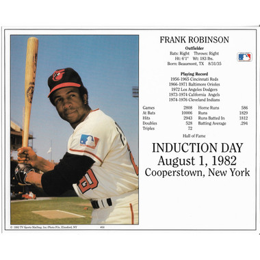 Frank Robinson Baltimore Orioles 1982 Hall of Fame Induction 8x10 Photocard