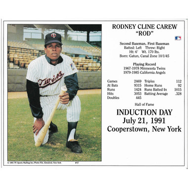 Rod Carew Minnesota Twins 1991 Hall of Fame Induction 8x10 Photocard
