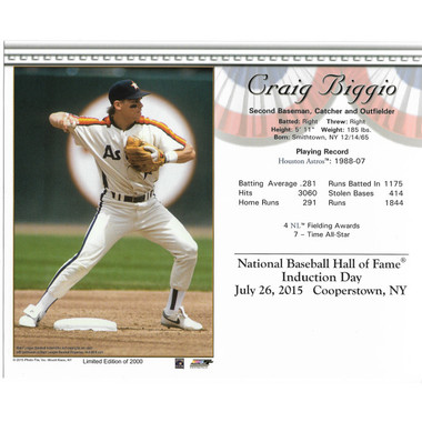 Craig Biggio Houston Astros 2015 Hall of Fame Induction 8x10 Photocard